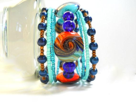 Memory Wire Bracelet Fun Blue and Orange Swirl Beaded Wrap Bracelet