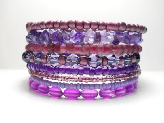 Stacked Bracelet Amethyst Purple Memory Wire Beaded Wrap