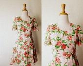 Vintage 'ROSE GARDENS' Floral Print Dress