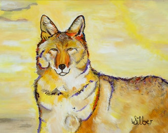 Modern, acrylic painting, coyote, Charlie my Muse, light bright colors, size 16x20