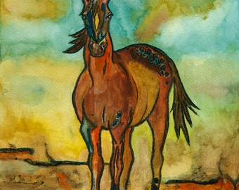 Original watercolor painting, horse, standing sentry, in southwest desert colors