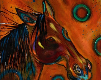 Original painting, mystical, horse painting, southwest style, earthy colors