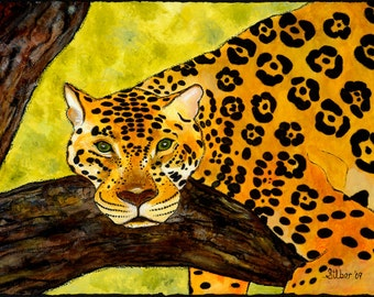 Original painting, leopard lounging in a tree, professionally framed and matted  35 x 29
