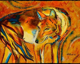 Archival quality print (or giclee), coyote, size 10x14, from my original painting - Watching