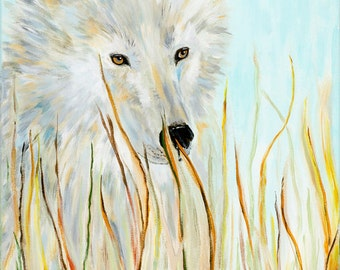Original painting, acrylic, dog, warm soft colors, 24x12, hers eyes will speak to you