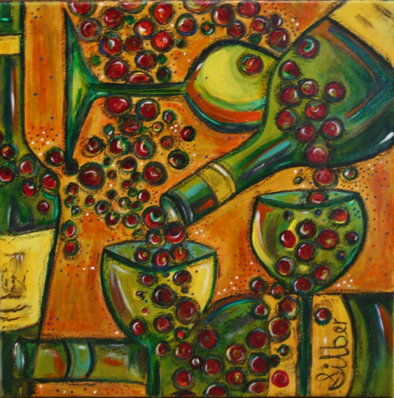 Painting, Chardonnay, whimsical, original wine themed, painting, small 18x18