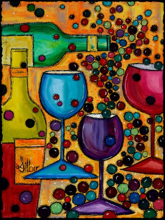 Original painting, Meritage, wine themed art, blues, greens, reds, vibrant color, size 22x30