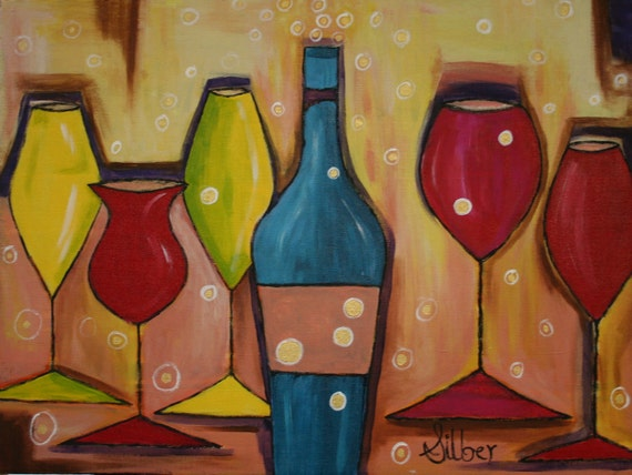 Painting, A Wine Party, original painting, in blues, yellows & red pinks with accents of golds and browns