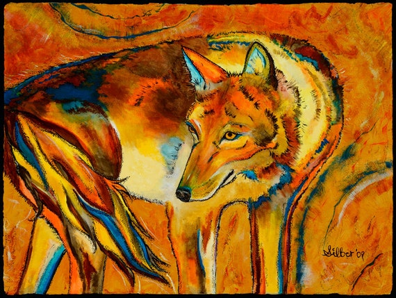 Archival quality print (or giclee), coyote, size 13x17, from my original painting - Watching