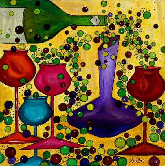 Print, Archival quality (or giclee) of my original Wine Themed painting - Reception, 20x20
