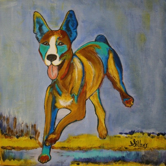 Original painting, happy dog, running, warm bright colors, blues, ochers, tans 12 x 12, acrylic painting