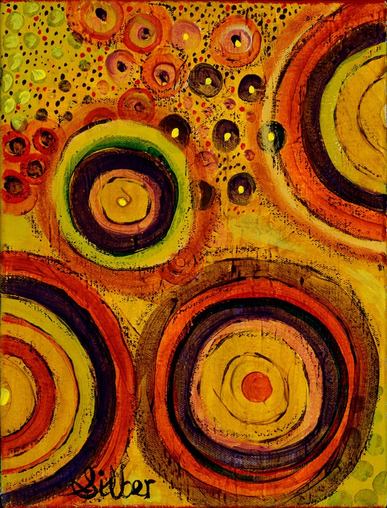 Original painting small 9x12 abstract warm color palate
