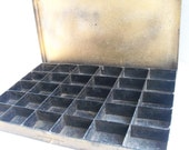 Industrial Tool Box - Rustic Metal Divided Storage Tool Box