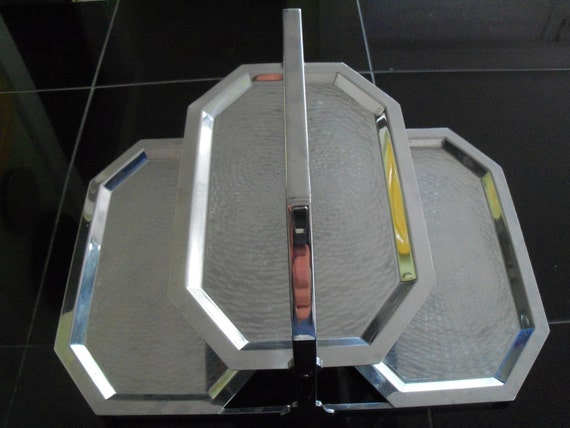 Serving Tray Chrome Deco Style Folding Party Server