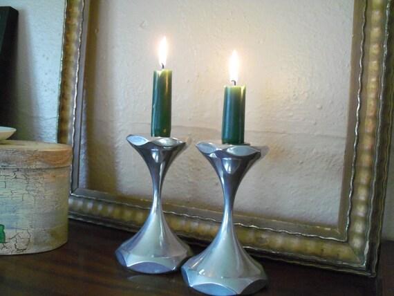 Mid Century Modern Candlesticks - Candle Holder Pair Chrome Metal 1960s
