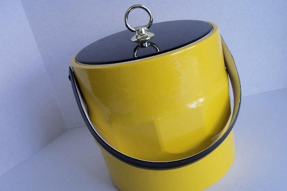 Ice Bucket - Mod Retro Vinyl Ice Bucket Black and Yellow Mad Men Style