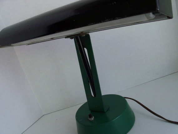 Vintage Desk Lamp - Deco Style Desk Lamp Green Black Bankers Style Lamp