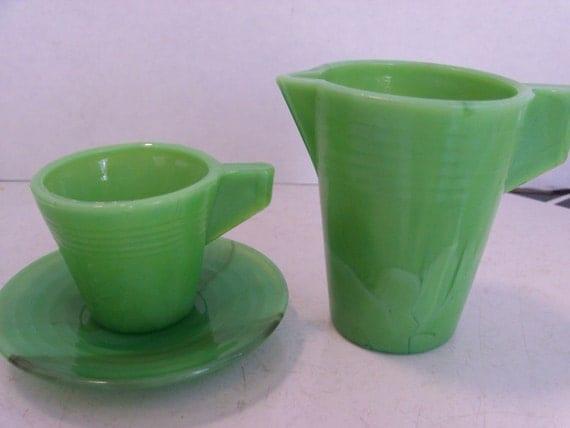 Jadite Green Tea Set - Akro Agate Jadeite Green Cup Saucer and Pitcher