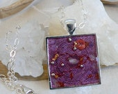 Orgone Energy Pendant - Amethyst Gemstone in Silver Square - Positive Energy Generator - Artisan Jewelry