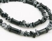 For Him - Black Onyx and Snowflake Obsidian Necklace - Mens - Unisex - Artisan Jewelry - Gemstone Jewelry