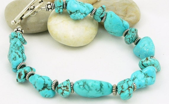 Turquoise Bracelet - Sterling Silver - Gemstone Bracelet - Chunky Bracelet - Blue Bracelet - Artisan Jewelry