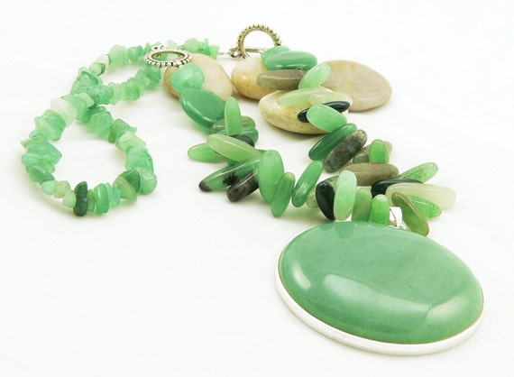 Bold and Chunky Green Aventurine Gemstone Statement Necklace - Artisan Jewelry - Designer Necklace - Asymmetrical Necklace