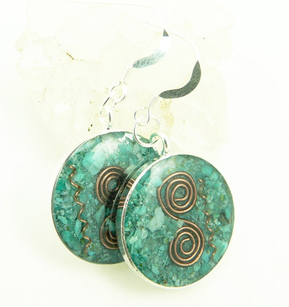 Orgone Energy Earrings - Positive Energy Generator - Dangle Earrings - Turquoise Gemstone - Artisan Jewelry