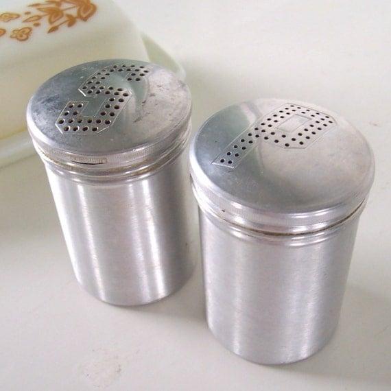 Vintage Aluminum Salt And Pepper Shakers