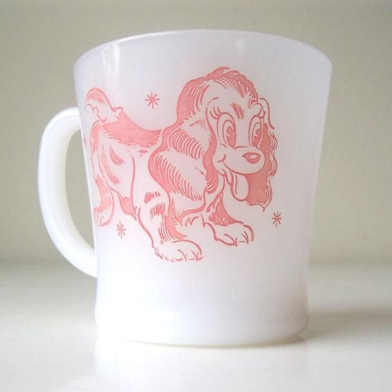 Glasbake Children's Mug, Pink Puppy, Very Rare