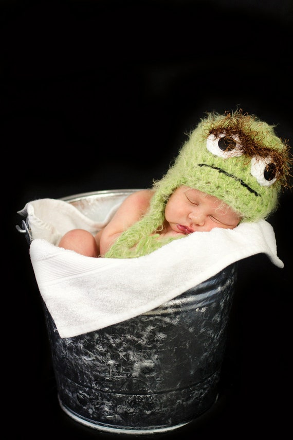 Crochet Hat Inspired By Oscar the Grouch Version 1 - Custom Made Any Size