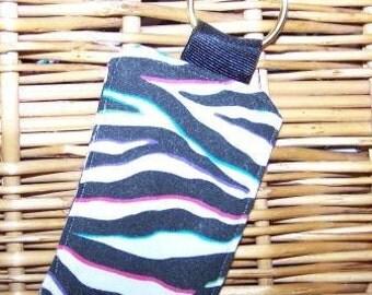 Padded Zebra Print Keychain