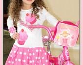 PINKALICIOUS Girls Custom White Long Sleeve Pinkalicious Cupcake Dress Pink White Polka Dot Available in 2 3 4T
