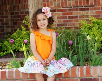 CLEARANCE SALE Spring Summer Girls Orange Sleeveless Spring Flowers Dress - Last One Size 4