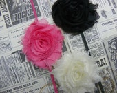 Baby Headbands...Shabby Chic Rosette Headbands...Set of Three Headbands...Baby Bows...Flower Headbands...Set of Three Headbands