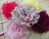 Set of Five Shabby Chic Flower Headbands...Photography prop...Baby Girl Headbands...Baby Bows...Shabby Chic Rosettes