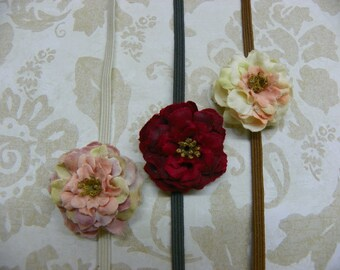Petite Flower Set...Baby Bows...Dainty Flower Headband Set...Mini Flower Headbands...Baby Girl Headbands