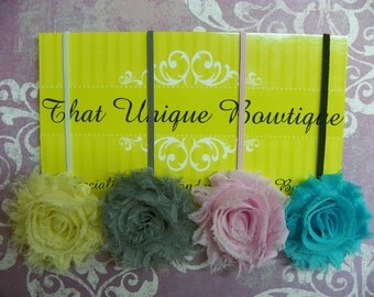 Shabby Chic Headbands...Set of Four Headbands...Chiffon Headbands...Baby Bows...Flower Headbands...Baby Girl Headbands