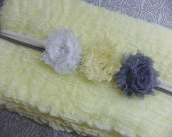 Newborn Headbands and Wrap Set...Cheesecloth Wrap...Photography Prop...Newborn Portrait Set...Baby Bows...Baby Girl Headband
