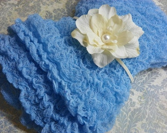 Sky Blue Cheesecloth Wrap and Headband Set...Photography Prop...Baby Bows...Newborn Prop...Baby Girl Headband