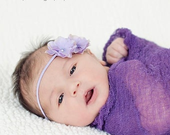 Plum Cheesecloth Photography Prop...Baby Wrap...Headband and Wrap Set...Baby Bows...Baby Girl Headband