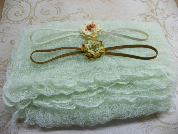 Mint Green Cheesecloth Wrap...Baby Bows...Photography Prop...Baby Girl Headbands...Petite Headbands