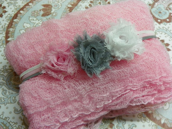 Newborn Cheesecloth Wrap and Shabby Rosette Headbands...Pink Cheesecloth Wrap...Baby Bows...Photography Prop...Shabby Chic Headbands