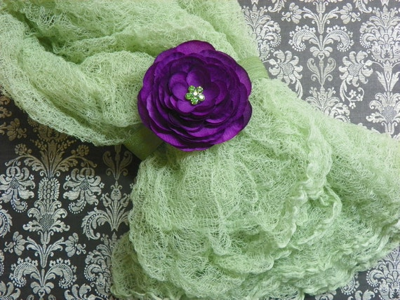 Green Cheesecloth Photography Prop...Baby Wrap...Headband and Wrap Set...Baby Bows...Baby Girl Headband