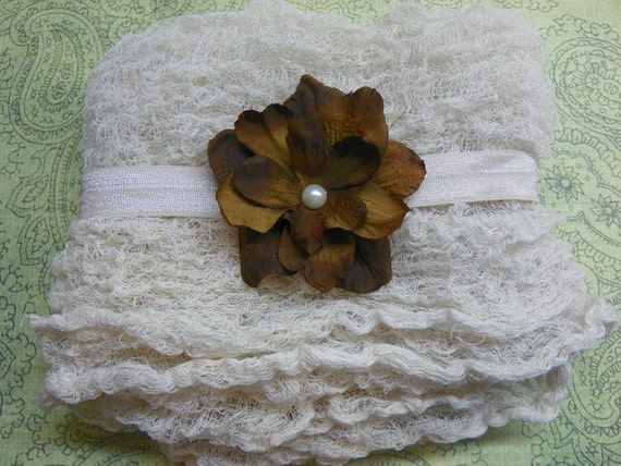 Champagne Cheesecloth Photography Prop...Baby Wrap...Headband and Wrap Set...Baby Bows...Baby Girl Headband