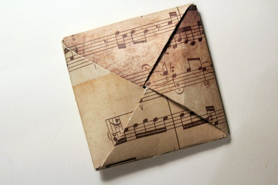 Folded Puzzle Purse Musical Note Card - Blank