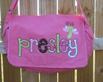 Large Raw Edge Messenger Bag or Diaper Bag with Personalized Name and Dragon Fly applique-Brown, Pink , Turquoise