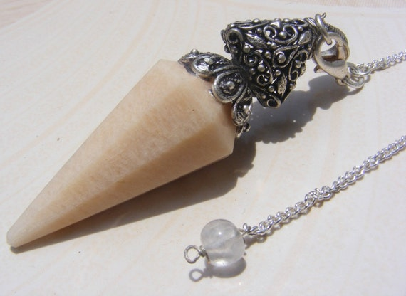Peach moonstone faceted cone, ethnic style pendant/pendulum