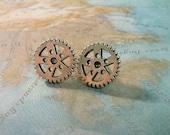 Steampunk Gear Silver Earring Studs