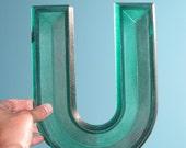 "Green Vintage Marquee Letter ""U"""