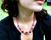 Hot Pink hemp choker with black glass beads